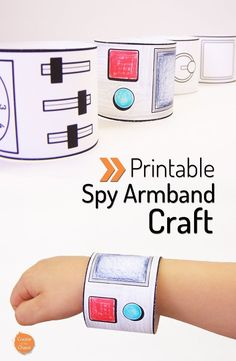 Printable spy armbands plus other awesome printable crafts Spy Birthday Parties, Spy Party, Kids Crafts, Preschool Crafts, Bible Crafts, Detective Crafts, Detective Party, Spy Kids, Spy Games For Kids