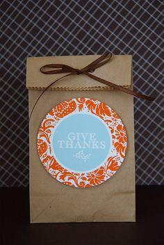Give thanks this month with these simple favor tags--perfect for neighbor, teacher, and hostess gifts...