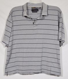 GREG NORMAN Mens Gray Striped Polo Shirt XL Mercerized Cotton Short Sleeves #GregNorman #PoloRugby