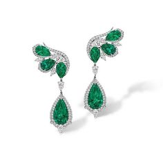 Jewelry OFF! Rosalyn Emerald and Diamond Earrings with 8 Colombian pear-shaped emeralds and white diamonds (=) Emerald Earrings, Emerald Jewelry, Gemstone Jewelry, Diamond Jewelry, Gold Jewelry, Dangle Earrings, Fine Jewelry, Men's Jewellery, Designer Jewellery