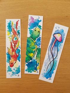 Watercolor Bookmarks, Watercolor Cards, Watercolor Print, Watercolor Paintings, Watercolor Galaxy, Creative Bookmarks, Diy Bookmarks, Diy Marque Page, Art Sketches