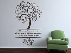"""Family quote reading:Like branches on a treeWe all grow in different directionsYet our roots remain as one"""" All our wall stickers/decals are available in a great range of sizes and colours - and can be personalised to be truly custom."""