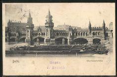 AK Berlin-Friedrichshain, Oberbaumbrücke mit Frachtschiffen  gelaufen 1903