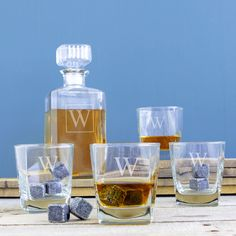 Personalized Decanter Set with Whiskey Soapstones (O), Clear (Glass)