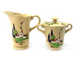 Syracuse China Adobe Ware Brittany Cottage Sugar and Creamer Set M 12 O 4 | eBay