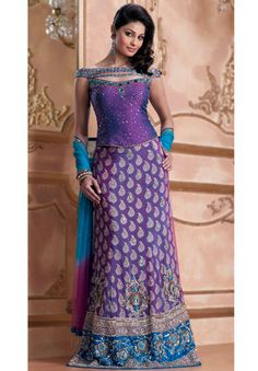 Beautiful lengha from Sheetal India. Would be a beautiful reception dress for a peacock inspired wedding theme.