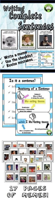 MAKE PRACTICING DEVELOPING COMPLETE SENTENCES RELEVANT AND FUN! $2.00