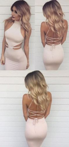 Sexy High Neck Prom Dress, Floor Length Criss-Cross Prom Dress, Straps Pearl Pink Mermaid Prom Dress