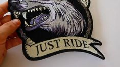 No Clubs No Rules Just Ride Wolf Embroidered Iron on Biker Back Patch Biker Back Patches, Iron On Patches, Biker Wear, Leather Vest, Black And Grey, Wolf, Needlepoint, Wolves, Timber Wolf