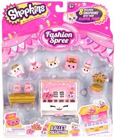 Today we open the Shopkins Fashion Spree Ballet Collection! It contains eight exclusive Shopkins, one stool, one stands and an exclusive playful piano! Shopkins Fashion Spree, Shopkins Season 8, Squishy Store, My Little Pony Dolls, Moose Toys, Little Ballerina, All Toys, Cute Toys, Kids Store