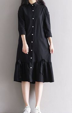 Women loose fitting over plus size black dress button up cotton long maxi dress #Unbranded #dress #Casual