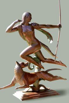 """For inspiration: Art Deco """"Diana"""" by Paul Manship. This was added more for inspiration than actual image. The concept of female huntress/warrior and her trusted dog is wonderfully iconic. Art Nouveau, Belle Epoque, Statues, A Discovery Of Witches, Art Deco Stil, Art Sculpture, Modern Sculpture, Inspiration Art, Art Deco Design"""