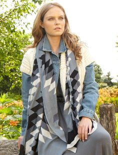 Theodora & Callum Black Multi Mohawk Blanket Scarf is a great layer piece and great to use for different ways to wear.