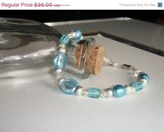 25% Off Blue and Silver Beaded Bracelet, Frosted Blue Glass Beads, Frosted Silver Beads, Silver Filigree Beads