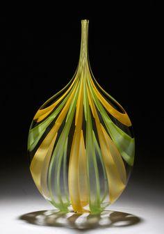 Green & Yellow Cane Bottle: Chris McCarthy: Art Glass Vessel - Artful Home