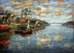 Gorbatov Constantine - View from the river to the old town. 1915. 900 Classic russian paintings