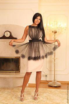 Купить Платье, декор-фатин, Элегантность - бежевый, однотонный, фатин, коктейльное, Авторское, под заказ