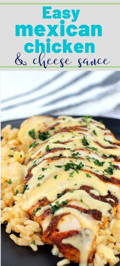 Mexican spiced chicken topped with a creamy cheese sauce makes this, Mexican Chicken with Cheese Sauce delicious any night of the week. Pair it with the Perfect Mexican Rice for a complete meal that your family will be begging for more. Authentic Mexican Recipes, Mexican Recipes With Chicken, Easy Mexican Recipes, Easy Mexican Dishes, Healthy Mexican Food, Easy Dinner Recipes, Chicken Recipes For Dinner, Mexican Chicken Spaghetti, Different Chicken Recipes