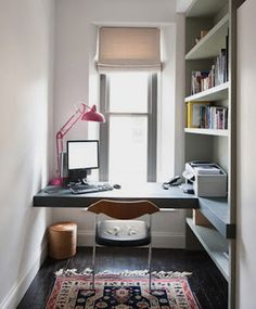 small space for office; built-in bookshelves; like the floor and rug