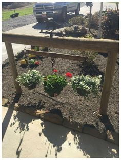 DIY Garden Decor Ideas for a Budget Backyard In front of barn hitching post with old harness Hanging baskets worked great Had originally thought name sign would be neat too Garden Yard Ideas, Garden Projects, Gnome Garden, Tree Garden, Fence Garden, Diy Garden, Garden Theme, Backyard Projects, Indoor Garden