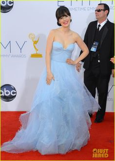 Zooey Deschanel - Emmys 2012 Red Carpet in a custom strapless sweetheart neckline tiered laser cut tulle gown by Reem Acra