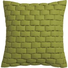 "CB2 Mason Quilted Moss Green 18"" Pillow With Feather-Down Insert (9.054 KWD) ❤ liked on Polyvore featuring home, home decor, throw pillows, pillows, backgrounds, feather down pillow inserts, quilted throw pillows, plush throw pillows, cb2 and urban home decor"