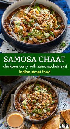 Tangy and spicy Samosa Chaat is popular north Indian street food! Crunchy samosa… Tangy and spicy Samosa Chaat is popular north Indian street food! Crunchy samosa is served with spicy chickpea curry (chole), yogurt and chutneys! North Indian Vegetarian Recipes, Vegetarian Breakfast Recipes, Indian Food Recipes, Indian Snacks, African Recipes, Samosa Chaat, Samosas, Tamarind Chutney, Garam Masala