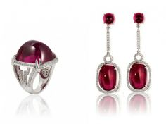 Rubellite Sugarloaf Cabochon Ring with Diamonds and Rubellite & Diamond Earrings | Goshwara