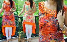 BUTTON IT UP ! Rayon double layered assymmetric Kurti with buttons and thread trims around neckline. Size - L XL XXL Price - 1799 INR 29 June 2016 Pakistani Dresses, Indian Dresses, Indian Outfits, Salwar Designs, Blouse Designs, Stylish Dresses, Fashion Dresses, Dress Outfits, Salwar Dress