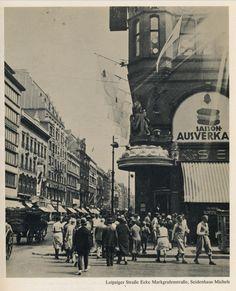 Die Ecke Leipziger Straße / Markgrafenstraße, gegenüber die Häuser der Leipziger Straße zwischen Jerusalemer Str und Markgrafenstraße um 1928