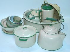 green & tan enamelware