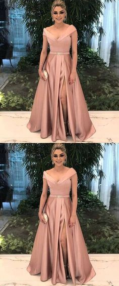 blush off shoulder prom party dresses, elegant long evening gowns, chic formal party dresses.