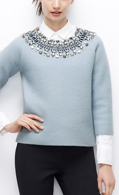 Ice blue sweater with sparkle collar