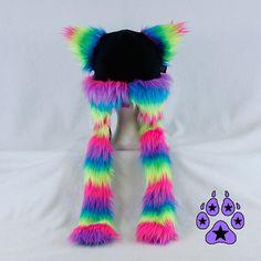 Arco iris neón piel gatito rave brillante sombrero por pawstar