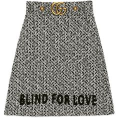 Gucci Embroidered Tweed Skirt (17.645 ARS) ❤ liked on Polyvore featuring skirts, gucci, ready-to-wear, women, tweed skirt, black and white skirts, embroidered skirt and gucci skirt