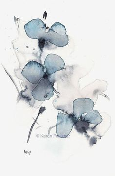 Watercolor Print of Abstract Flowers: Indigo Blossoms