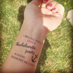 Bachelorette party ideata, Temporary Tattoo