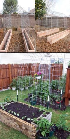 Small Garden Landscaping Growing vegetables that climb, like cucumber, green beans and tomatoes in a small outdoor space, trellis and raised garden box combo will be efficient Raised Vegetable Gardens, Veg Garden, Garden Types, Brick Garden, Tomato Garden, Small Fruit And Vegetable Garden Ideas, Small Garden Box Ideas, Diy Garden Box, Home Vegetable Garden Design
