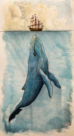 INKtober # 21 - Big by Sofyarts on drawn INKtober # 21 - B . - INKtober # 21 – Big by Sofyarts on drawn INKtober # 21 – Big by Sofyarts on D - Cool Art Drawings, Art Drawings Sketches, Animal Drawings, Drawing Ideas, Disney Drawings, Easy Drawings, Whale Painting, Painting & Drawing, Nautical Painting