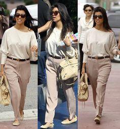 kourtney kardashian style | Kourtney Kardashian in Beige with Brown Cat Eye Sunglasses
