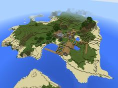 Cool Minecraft PE fishing seed featuring an island with not one, but two waterside villages! Minecraft Pe Seeds, Cool Minecraft, Minecraft Crafts, Minecraft Designs, Minecraft Skins, Minecraft Houses, Minecraft Ideas, Mcpe Seeds, Minecraft Structures
