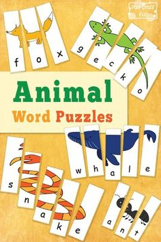 Animal Word Puzzles - Itsy Bitsy Fun
