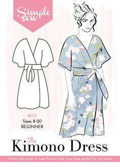 A stylish and simple to make kimono-style wrap dress. It& ideal for work or for play and perfect for any season depending on how you layer underneath. Sewing Dress, Sewing Clothes, Diy Clothes Kimono, Doll Clothes, Kimono Dress, Diy Dress, Knot Dress, Apron Dress, Dress Making Patterns