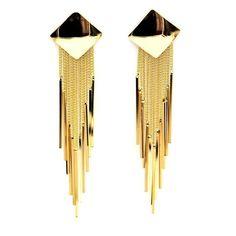 Long Gold Tassel Drop Earring.