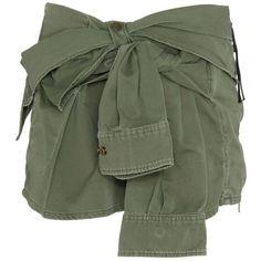 Faith Connexion Tie-Sleeve Shirt Canvas Skirt (€575) ❤ liked on Polyvore featuring skirts, mini skirts, bottoms, shorts, green, zipper skirt, short green skirt, faith connexion, zipper mini skirt and green skirt
