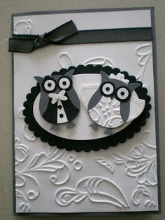 Maria Kandylas of Pepperly Rose Invitations: 2 Step Owl Punch wedding card - Idea only!