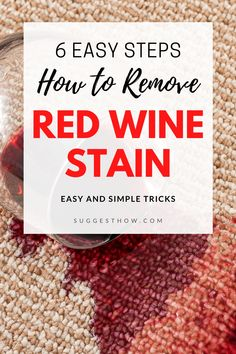 If you are constantly worried about not to spill a single drop of red wine on your shirt or sofa, this guide is for you. Learn How to Remove Red Wine Stain from carpet or clothes with 6 easy diy steps! Deep Cleaning Tips, Household Cleaning Tips, Cleaning Hacks, Red Wine Stains, Stain Remover Carpet, How To Clean Carpet, Sofa, Drop, Easy Diy