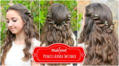 Cute Girls Hairstyles shares the Princess Aurora Twistback inspired by Disney's Maleficent. Check out the easy instructions and video for this hairstyle. Disney Hairstyles, Cute Girls Hairstyles, Flower Girl Hairstyles, Pretty Hairstyles, Wedding Hairstyles, Easy Hairstyles, Disney Princess Hairstyles, Hairdos, Communion Hairstyles