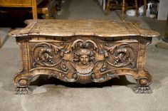 19th Century Italian Baroque  Carved Cassone | From a unique collection of antique and modern blanket chests at https://www.1stdibs.com/furniture/storage-case-pieces/blanket-chests/