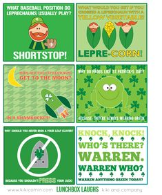 Free Lunchbox Laughs for St. Patricks Day. These will be perfect to throw in my kids lunch! #StPatricksDay